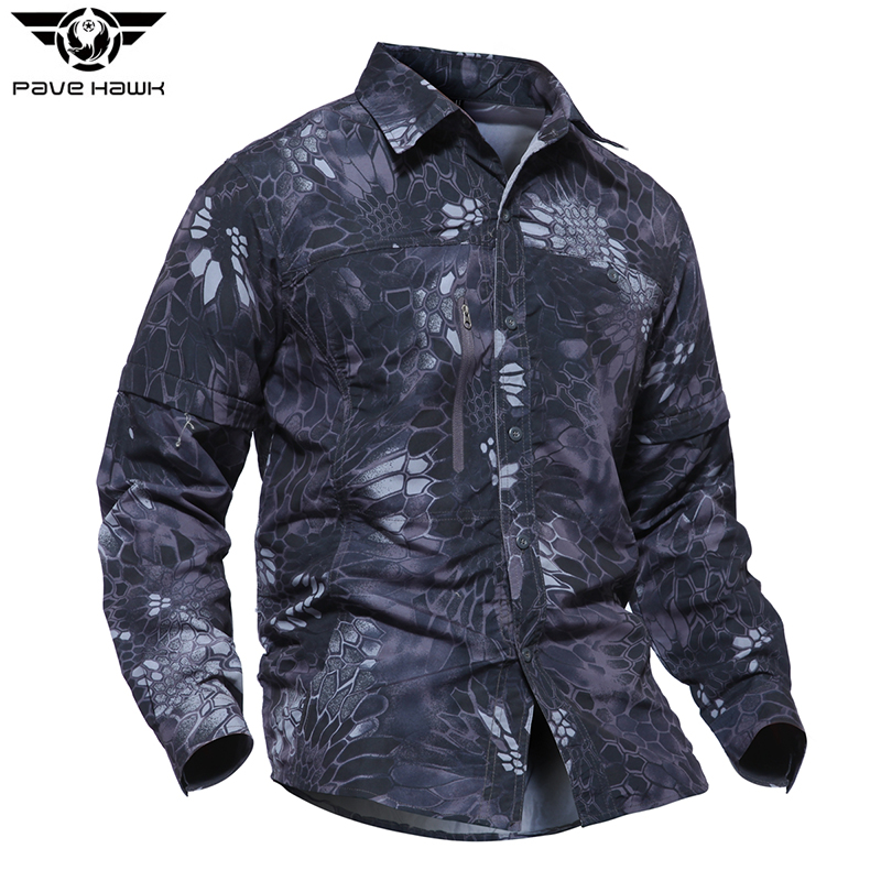 Men Military Shirt Thin quick dry Multi-purpose Pockets Sleeve detachable Camouflage Shirt Scratch-resistant Outdoor Sport Shirt