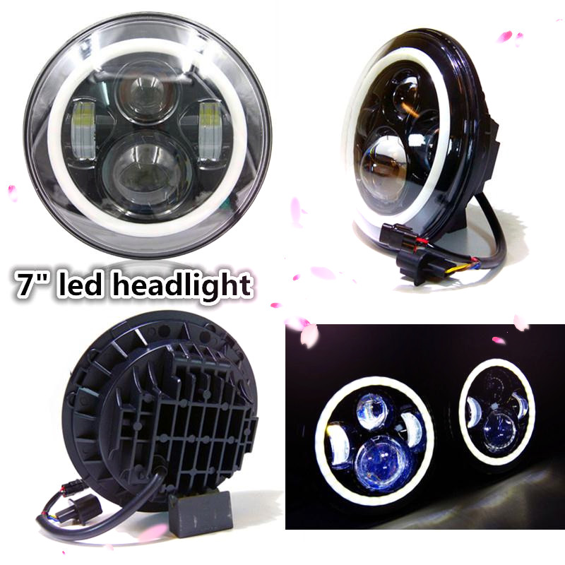 Colorful Hi/Low Beam Round 7 led Headlight Head Light with Bulb DRL angle eye for wrangler TJ LJ JK CJ Harley motorcycle 7inch free shipping 7inch round headlight 75w h4 motorcycle round led headlamp daymaker hi low beam head light bulb drl for offroad
