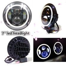 Colorful Hi/Low Beam Round 7″ led Headlight Head Light with Bulb DRL angle eye for wrangler TJ LJ JK CJ Harley motorcycle 7inch