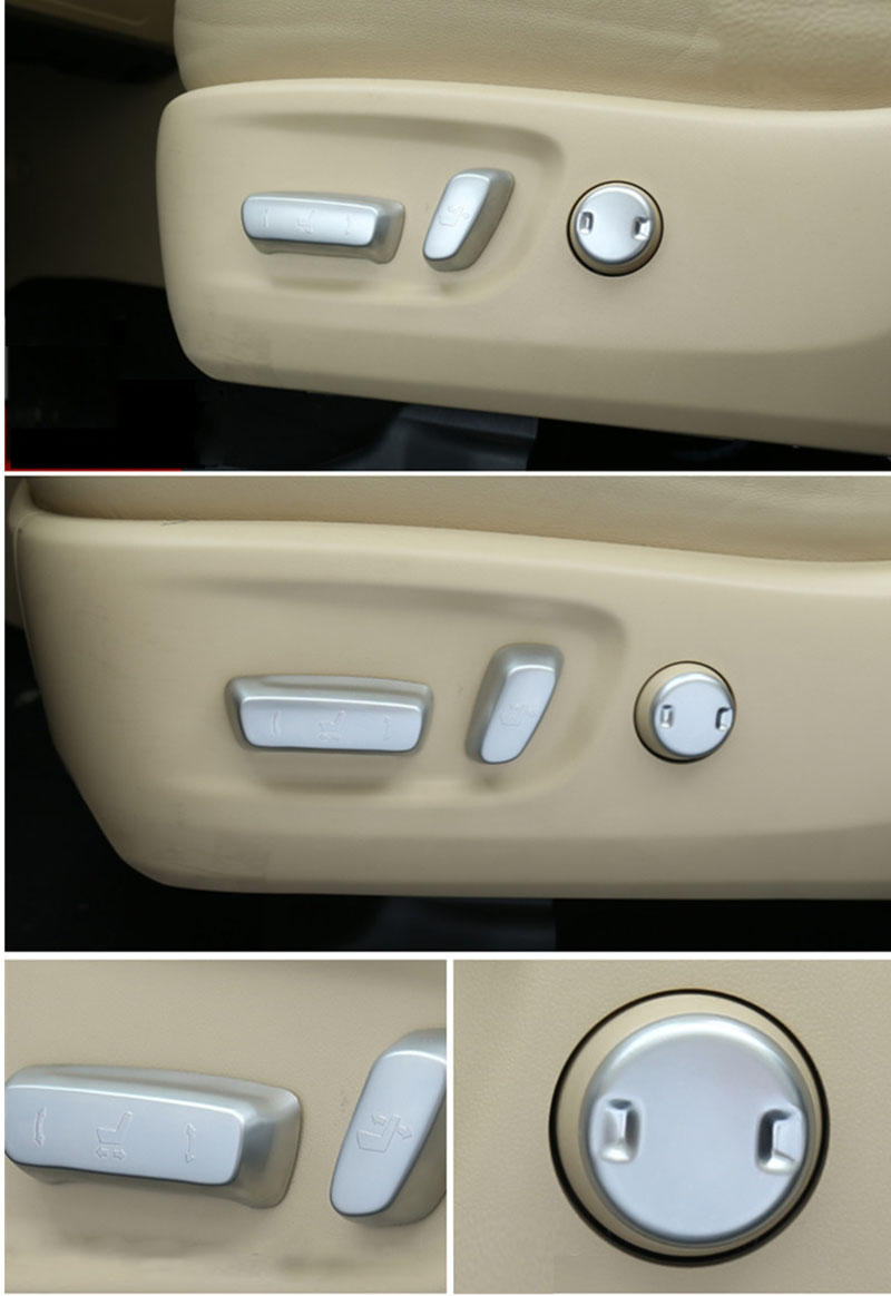 For 2014 2015 Toyota Highlander Kluger ABS Chrome Auto Seat Adjustment Button Cover Trim Knob Button Switch Interior Accessories