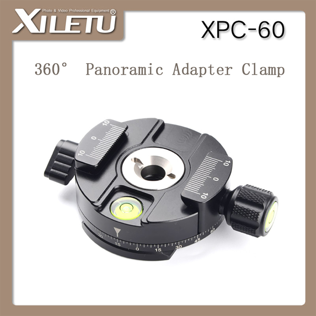 XILETU XPC 60 360 Degree Panoramic Clamp Aluminum Alloy Adapter Quick Release Plate Tripod DSLR Photography Accessory Only 145g