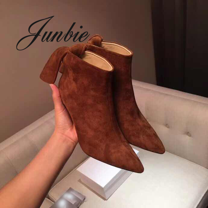 JUNBIE Suede Leather Pointed Toe Bowtie Women Autumn Winter Boots Slip On Thin HIgh Heel Women Ankle Boots Shoes Women women fashion ankle boots top quality suede autumn slip on pointed toe flats punk suede biker boots ladies shoes wholesales