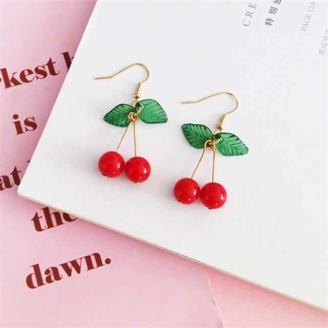 2019 Japanese and Korean Sweet Fashion Youth Girl Student Fruit Cherry Earrings Fresh and Simple Cute.jpg 640x640 - 2019 Japanese and Korean Sweet Fashion Youth Girl Student Fruit Cherry Earrings Fresh and Simple Cute Women Earrings Ear Clips