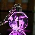 LED boda marco de fotos álbum de fotos de cristal colorido de la Llave de cristal Cadena de imagen personalizada familia registro de memoria bebé foto llavero