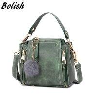 Bolish nubuck donne borsa in pelle moda palla di pelo Accessori femminili sacchetto di spalla/sacchetto del messaggero di colore della caramella del sacchetto delle donne