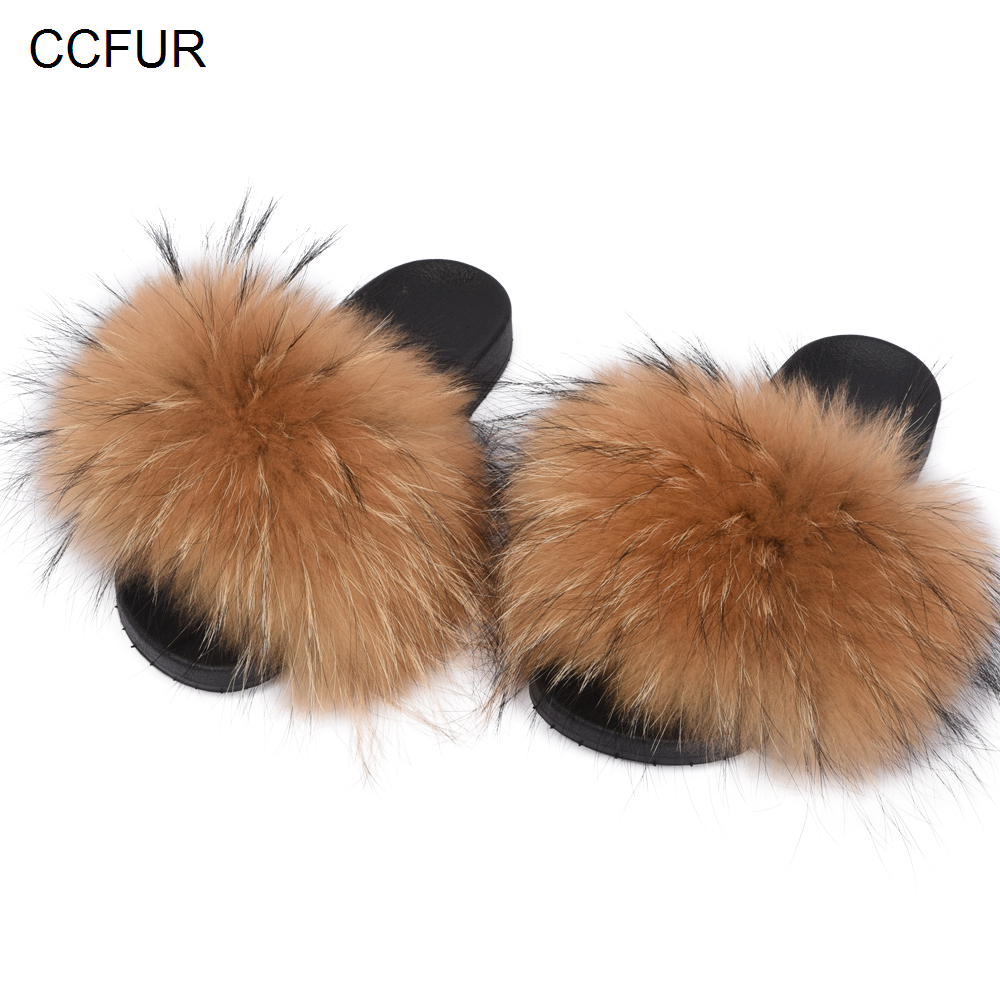 Women's Fur Slipper Real Raccoon Fur Fashion Style Furry Slides Soft Warm Big Fluffy Fur Shoes S6020E