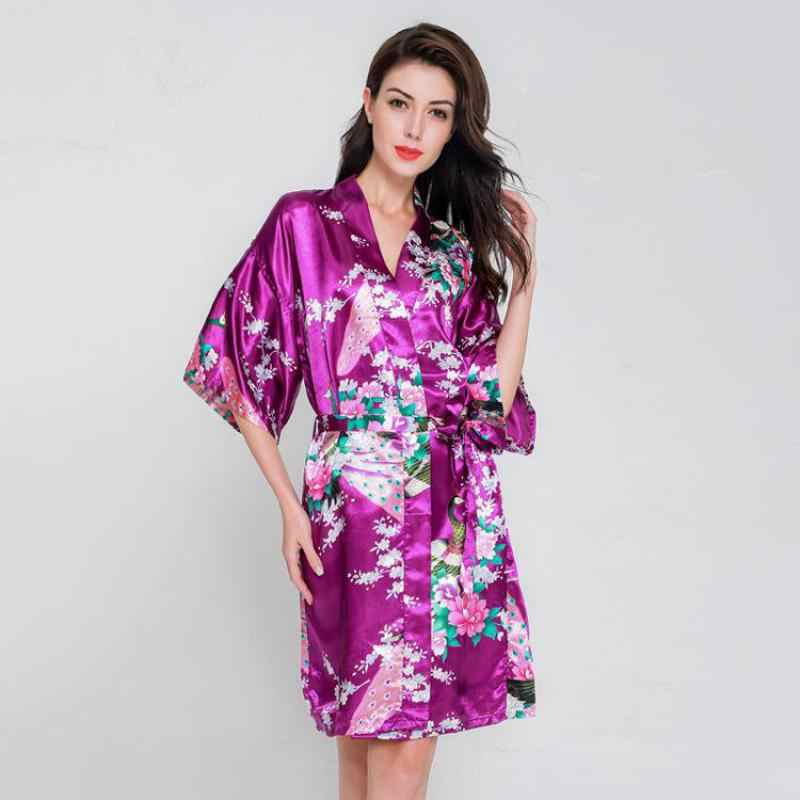 Detail Feedback Questions about Hot Pink Ladies Summer Faux Silk Robe Dress  New Style Sleepshirt Sexy Mini Nightgown Kimono Bath Gown Floral Plus Size  WC097 ... e07a316e2