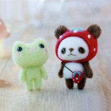 Paquet de feutres en laine, Non fini, créatif, ravissant jouet fait à la main, grenouille rose et ours Panda, poupée en laine, chaton, bricolage
