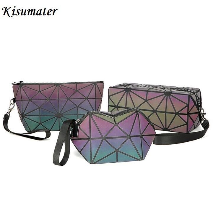 Kisumater 2018 Nova Geométrica saco mulheres Mini Bolsa saco Pequeno make-up saco da forma Luminosa Frete Grátis Holograma