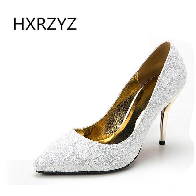 HXRZYZ wedding shoes 2017 women high heels fashion ladies paragraph lace pattern pointed toe bride super high heeled women pumps