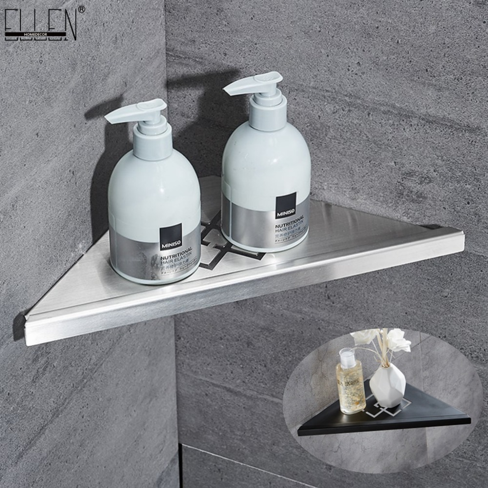 Bathroom Corner Shelves Brushed Nickel 304 Stainless Steel Wall Bathroom Shelf Shower Storage Bathroom Accessories Shelves ELF41