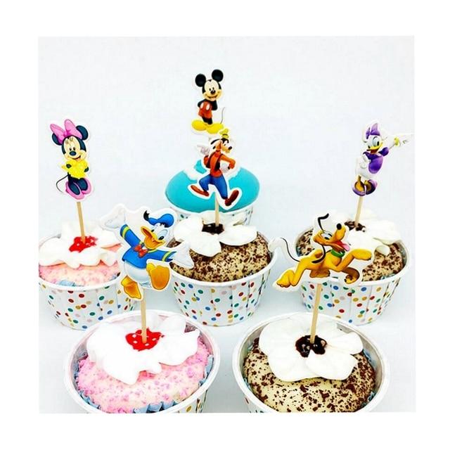 24 Teilelos Klassische Mickey Minnie Donald Duck Hund Cupcake