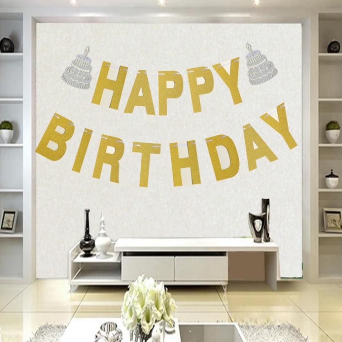 SURWISH Happy Birthday Golden Hanging Banner Silver Cake Birthday ...