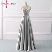 美容エミリースパンコール A ライングレーイブニングドレス 2020 ロング V ネックフォーマルなイブニングドレスパーティーウエディングフォーマルパーティードレス