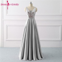 Beauty Emily Sequined A Line Gray Evening Dresses 2020 Long V Neck Formal Evening Gowns Party Prom Formal Party Dresses