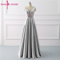 Beauty Emily Sequined A Line Gray Evening Dresses 2019 Long V Neck Formal Evening Gowns Party Prom Formal Party Dresses