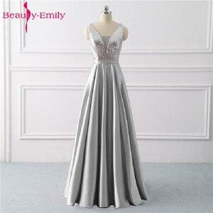 Image 1 - Beleza emily sequined uma linha cinza vestidos de noite 2020 longo decote em v vestidos de noite formais festa de formatura formal vestidos de festa