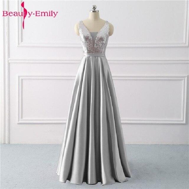 Beleza emily sequined uma linha cinza vestidos de noite 2020 longo decote em v vestidos de noite formais festa de formatura formal vestidos de festa
