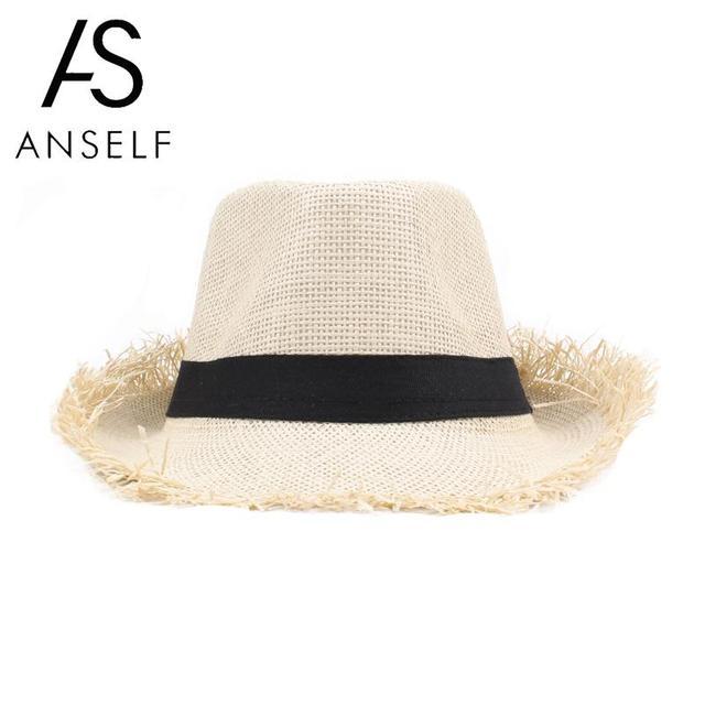 833cba6129bca Anself Fashion Beach sun hat Cute children sun hats bow hand made women  straw cap beach big brim hat casual girls summer cap