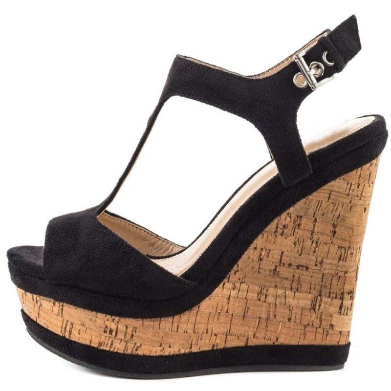 FGHGF NEW Women s sandals 16cm Black wedge sandals women s high heeled sandals plus size