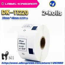 2 пополнения Rolls Совместимость DK-11220 этикетка 39 мм* 48 мм 620 шт. совместимый для устройство для печатания этикеток QL-700/720 белый Бумага DK-1220