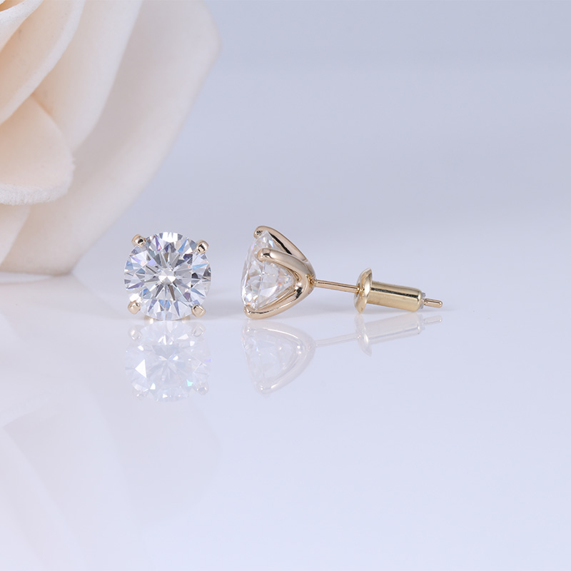 Transgems 14 K 585 Gelb Gold 2CTW 6,5mm Moissanite Diamant Stud Ohrring Push Zurück Ohrringe Für Frauen Hochzeit Schmuck-in Ohrringe aus Schmuck und Accessoires bei  Gruppe 3