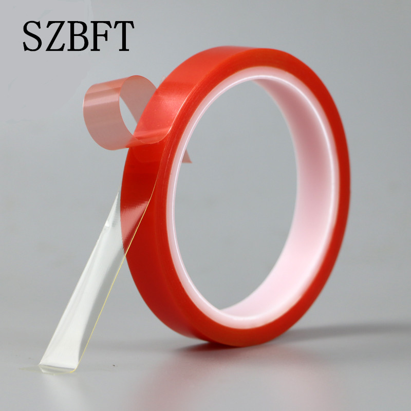 SZBFT 2rolls 1mm 5mm 5M Strong pet Adhesive PET Red Film Clear Double Sided Tape No Trace for Phone LCD Screen free shipping in Tape from Home Improvement