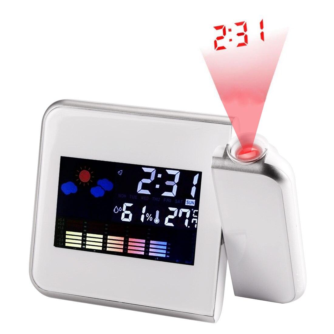디지털 프로젝션 알람 시계 온도 온도계가있는 기상 관측소 습도 습도계/침대 옆 깨우기 프로젝터 시계