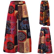Женские осенние чешские цветочные набивные широкие штаны брюки женские брюки с высокой талией повсед
