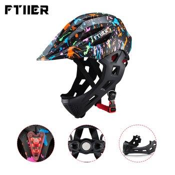 Ftiier 2 использования Детские съемные шлемы светодиодный мальчики девочки велосипедный шлем детский полный уход за кожей лица велосипед вело...