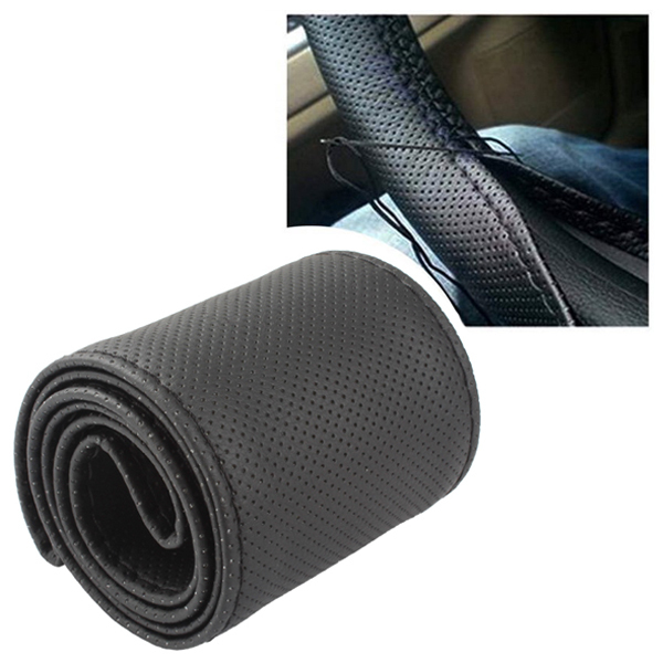 Black DIY PU Leather Auto Car Wheel Steering Cover Handmade Sewing Steering Wheel Covers with Needles and Thread