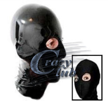 Crazy club_Customized Hood Mask Fetish Pure Natural Latex Black Full Face eyes Hollow nose holes Hood Rubber Mask Fast Delivery