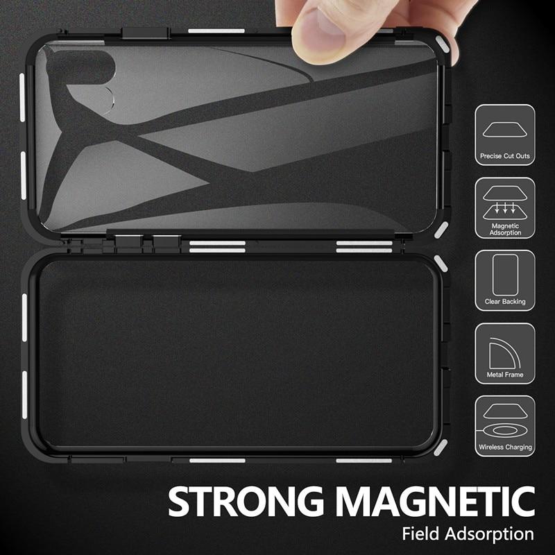 Metal Magnetic Case For iPhone Models+Tempered Glass Back Magnet Cases Cover