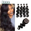Peruvian Body Wave With Closure 7A Peruvian Human Hair With Closure Cheap 4 Bundles Peruvian Virgin Hair Body Wave With Closure