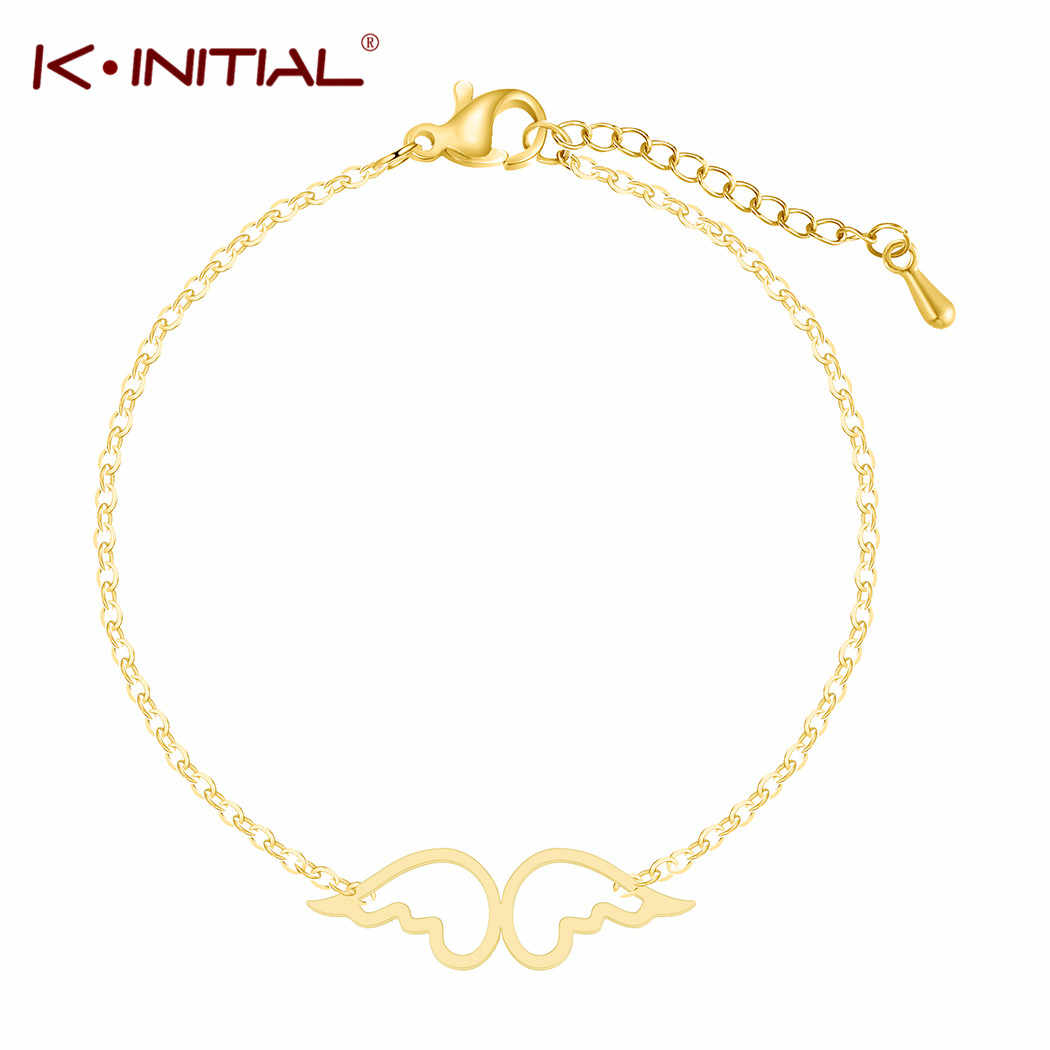 Kinitial קסם נירוסטה אגף צמידי צמידים לנשים זהב/כסף צבע שרשרת אורך מתכוונן נקבה גבירותיי תכשיטים