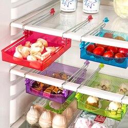 Organizer do kuchni regulowany kuchenny pojemnik do lodówki Rack lodówka z zamrażarką uchwyt półki wysuwana szuflada organizator posiadacze Półki i uchwyty    -