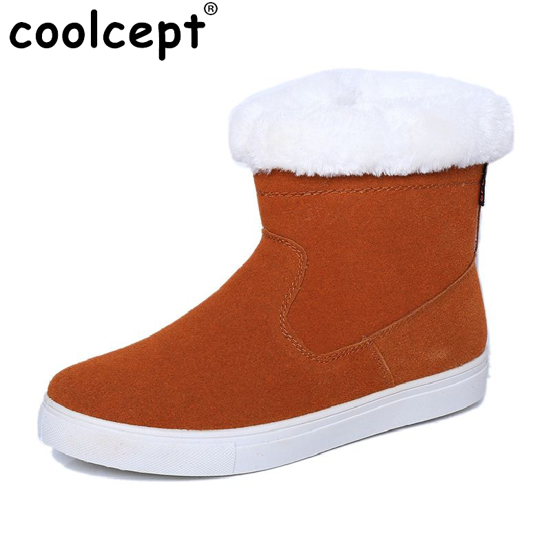 Coolcept Russia Snow Boots Women Flats Shoes Lady Thickened Fur Winter Keep Warm Ankle Boot Short