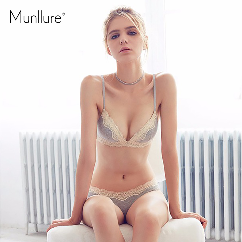 Munllure Underwear series solid color brief thin lace cotton bra set wireless underwear bra set