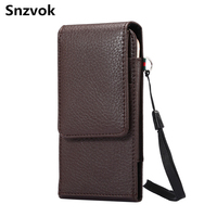 Snzvok 3 5 6 3 Inch Litchi Grain Up And Down Style Waist Hanging Phone Bag