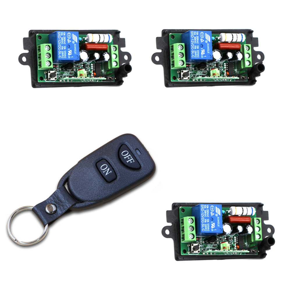 Smart Home 110V 220V 1CH 3 Receiver & 1 Transmitter RF Wireless Remote Control Switch System Learning Code For LED ON/OFF
