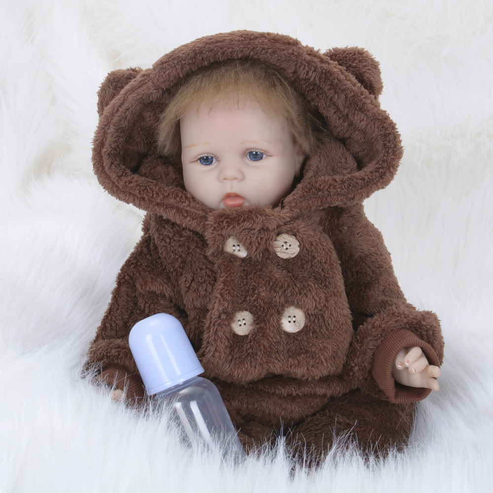 22inches 55cm Reborn Girl Baby Dolls Lifelike Silicone Vinyl Gifts For Children Toys with Brown Flush Clothes забавные аппликации домашние животные