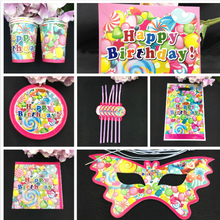 92pcs Candy balloon theme paper plates napkin straw gift bag Invitation card for kids candy birthday party decoration 12people