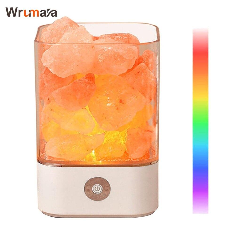 Wrumava LED Himalayan Salt Lamp with 7 Colorful USB Power Supply Natural Himalayan Salt Lamp Unique Crystal Salts Night Light цена