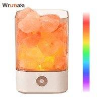 Wrumava LED Himalayan Salt Lamp with 7 Colorful USB Power Supply Natural Himalayan Salt Lamp Unique Crystal Salts Night Light