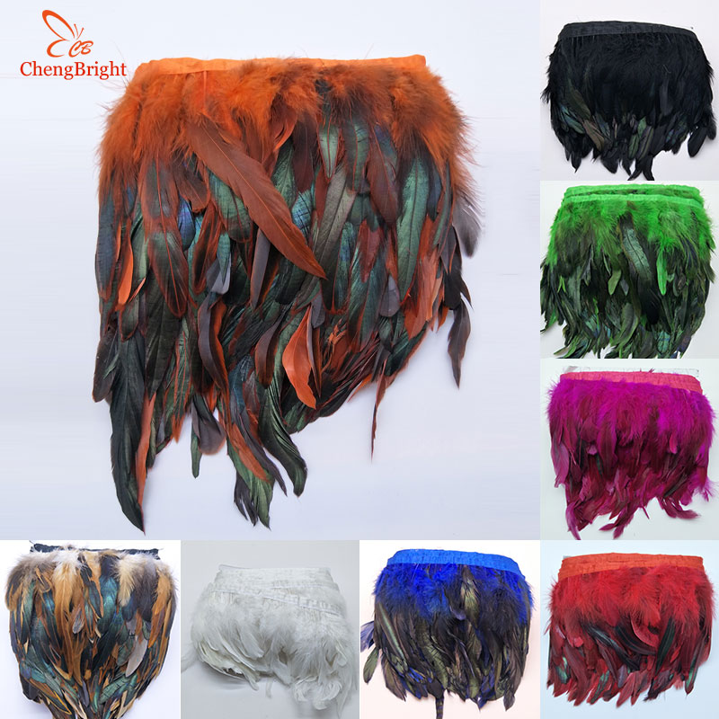 ChengBright Perfect 10Yards Cock Tail Feather Trim Fringe 13-18cm/5-7inch Width Decorative Craft Feather Trim Feather Ribbon DIY