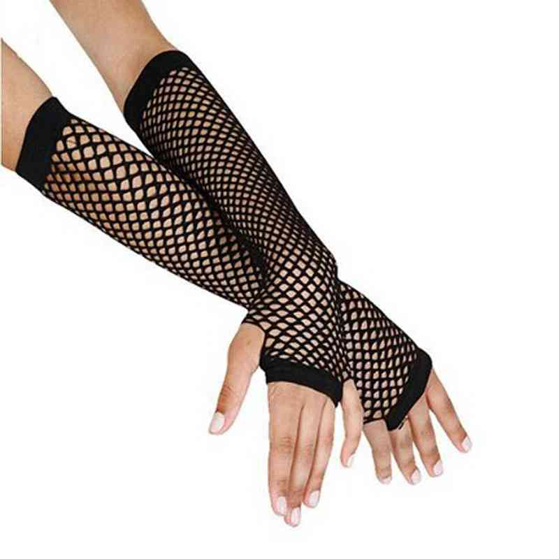 # 2019 Punk Goth Lady Disco Dance Costume Lace Fingerless Mesh Fishnet Gloves Female Black Guantes Mujer Cheap Wholesale(China)