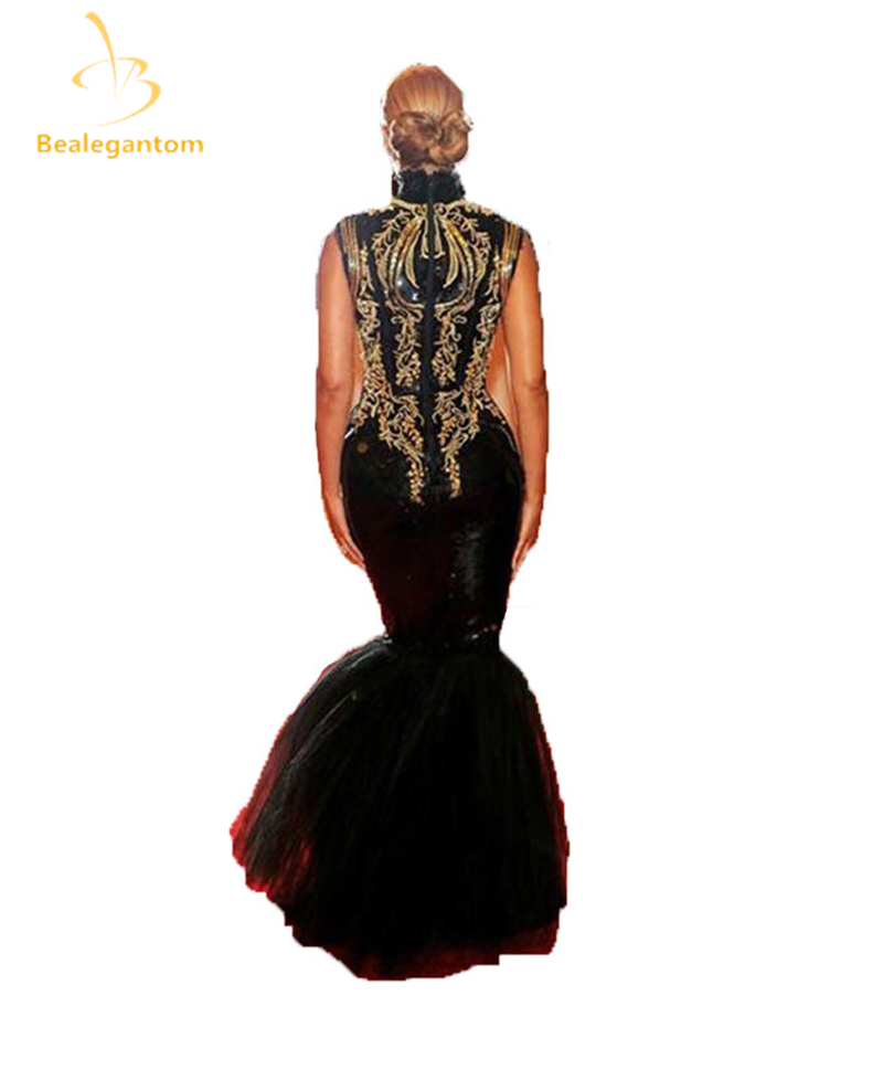 2017 Hot Sexy Evening Gowns Beyonce Gala Black And Gold Embroidery Beaded High Neck Floor Length Mermaid Celebrity Dresses QA114