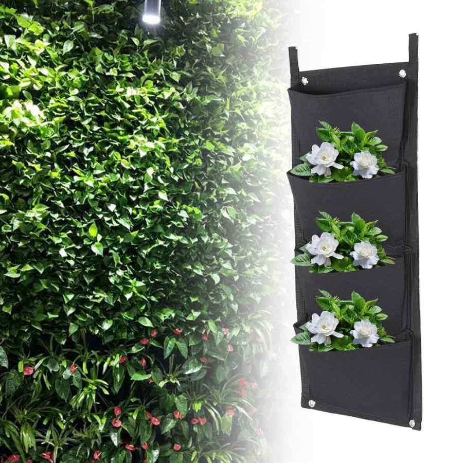 Черная вертикальная садовая сеялка, настенная посадка цветка, сумка для выращивания, 4 кармана, садовая сумка для выращивания овощей, товары для дома 70*30 см