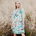 Китайский стиль 2017 женщины весна лето этническая винтаж цветочная вышивка с коротким повседневная органзы макси cheongsam dress 8840 М-2XL