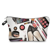 Women Lady Travel Cosmetics Bags Zipped 3D Shoes Eyeshadow Lipstick Printing Organizer Pouch Storage Makeup Bag Gifts OH66(China)